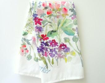Floral Market Tea Towel, Watercolor Tea Towel, Watercolor Floral Tea Towel