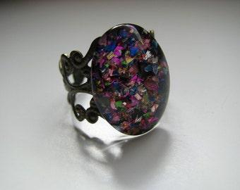 Miss April Rainbow Flake Filigree Nail Polish Ring