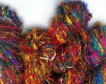 TWO Skeins Yummy Handspun Upcycled Silk  Sari Yarn