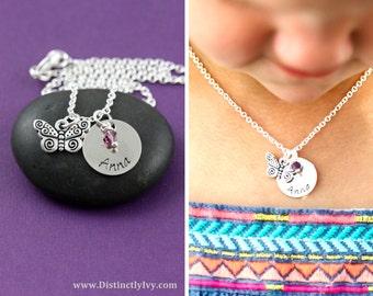 SALE - Butterfly Necklace - Butterfly Jewelry - Preschool Gift - Girls Necklaces - Custom Jewelry Gift - Little Girls Jewelry