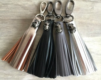 Oversize Genuine Leather Tassels with Bugs, Handmade Leather Tassels, Bag Tassels, Tassel Keychains, Leather Keychain, Bag Tassel Accessory