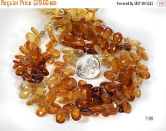 ON SALE Hessonite Garnet Faceted Pear Shaped Briolettes Flat Teardrops Shaded Golden Browns - 4-Inch Strand - 34 Beads - 8x6 to 10x7mm