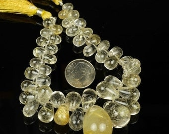 ON SALE Golden Rutilated Quartz Smooth Teardrops Briolettes Earth Mined Gemstone - One half strand - 22 Beads - 7x6 to 17.9mm