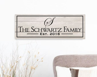 Rustic Family Name Sign Engraved Wood with Shiplap Finish 7x20