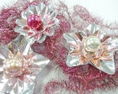 Old Vintage Tinsel Lametta Garland Christmas Feather Tree Rope 13 Feet Long Wired Magenta Pink Petite Decoration Lot