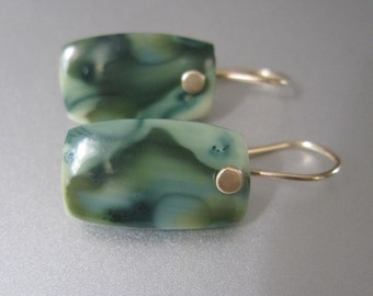 Green Royal Imperial Jasper Tablets Solid 14k Gold Earrings