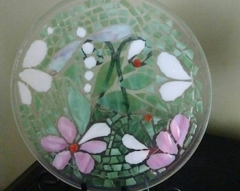 Mosaic art - dragonfly mosaic -glass art gift -glass lover -upcycled art lover - repurposed glass art -home decor - mosaic gift - glass gift