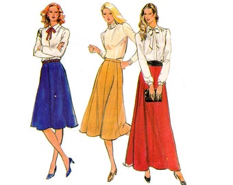 Retro Gored Maxi Skirt Pattern Butterick 3137 Vintage Sewing Pattern Plus Size Skirt Size 16 Waist 30 inches