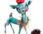 Ooak Spun Cotton, Large, Turquoise and Pink, Unicorn Deer, Precious, Kitsch, Art Figure, Kawaii, Art Doll