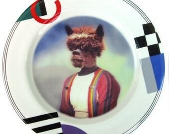 "Anthony Alpaca, Senior Portrait - Altered Vintage plate 8"""