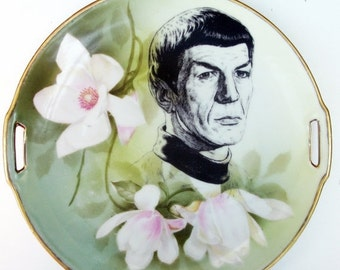 ON SALE Spock Portrait Plate -  Altered Antique Plate 10""