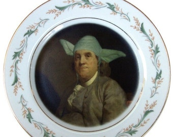 ON SALE Yodamin Franklin Portrait Plate - Altered Antique Plate 7.75""