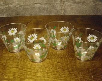 Vintage 1960's/1970's  Plastic Daisy Cups  Deadstock  Lot Of 4