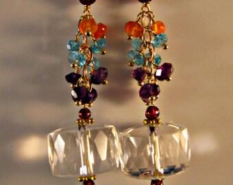 Gemstone Cluster earrings, gemstone earrings, dangle earrings,drop earrings, gold earrings,amethyst earrings,apatitle earrings,birthstone
