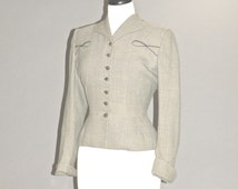 Vintage 1940s Suit Jacket, 40s Gray Fitted Hourglass Wool Blazer, Tailored by Kolmer