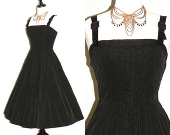 Vintage 50s Dress, Black 1950s Full Skirt Party Dress, Chioffi Firenze Medium