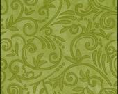 Fabulous Fall fabric - green scrolls/swirls - Moda - OOP HTF