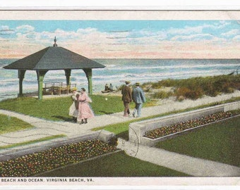 Beach Promenade Ocean Virginia Beach VA 1926 postcard