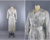 Vintage 1960s Silver Coat / 60s Brocade Trench Coat / Silver Maxi Coat / New Years Wedding Formal / Lawrence London / Size Medium 8 to 10