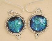 Green icicle- Sterling Silver Dichroic glass earrings