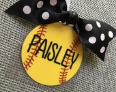 Personalized Softball Gifts | Softball Bag Tags | Softball Coaches Gifts | Fastpitch Softball Gifts | Softball Team Gifts | Softball Bow Tag