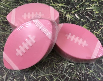 Football Soap | Pink and White Soap | Breast Cancer Awareness Month Soap | Guest Soap | Gift for Her | Cancer Awareness Soap