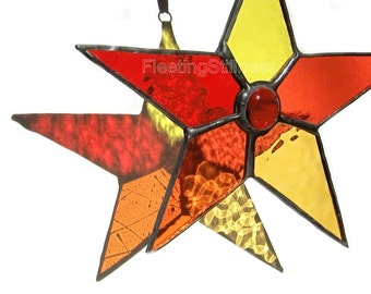 Star sun Catcher Stained Glass Suncatcher Red Handmade OOAK