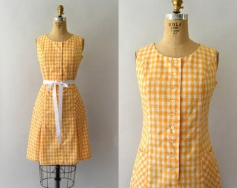 1960s Vintage Dress - 60s Orange Gingham Scooter Dress