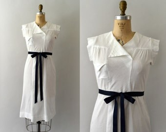 1930s Vintage Dress - 30s White Cotton Sundress - Vintage Resort Wear