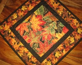 Fall Autumn Leaves Quilted Table Topper, Table Square, Green Orange Red Leaves, Fall Table Decor, Wall Hanging, Round Table Topper, Handmade