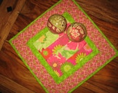 Quilted Table Topper, Bold Pink Yellow Green Flowers, Easter Table Topper, Spring Summer Table Topper, Reversible Table Mat,Handmade