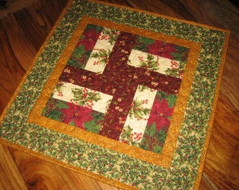 Christmas Table Topper Holly Poinsettias Burgundy Green Cream Quilted Table Topper, Holiday Table Mat, Reversible Table Topper