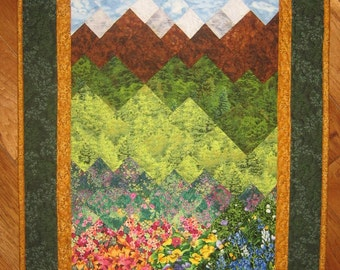 Flowers Trees Mountain Meadow Art Quilted Wallhanging Tahoe Flowers Fields Purple Yellow Flowers Wall Art Landscape Quilt Wall Decor