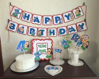 Lilo and Stitch Personalized Banner/ cake topper/ paper straws/ cupcake toppers/ center piece/ welcome sign/ and more.