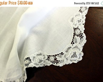 DAMAGED Linen Table Runner or Scarf -  Lace Edge - 11972