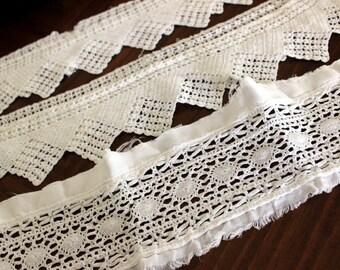 Handmade Lace Trim, Filet Crochet Lace, Wide Lace Trim, Pillowcase Trims 13204
