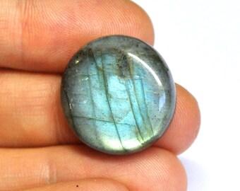 Labradorite, Natural Gemstone, Round Cabochon, Flat Back, Jewelry Supply - 22.3-22.9 x 7.3 mm - 32.7 ct - 160615-20