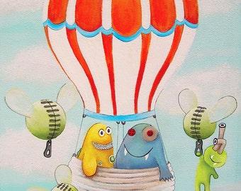 Art prints for kids, Prints for kids, Kids art print, Kids prints, Kids art, Hot air balloon nursery art, Kids monsters art, Kids monsters