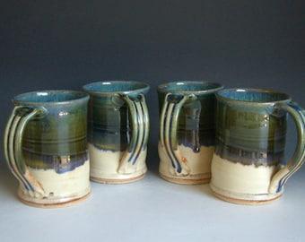 Hand thrown stoneware pottery mugs set of 4  (M-37)