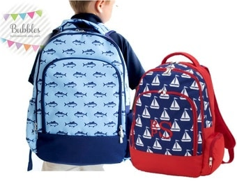 Boys Monogrammed Backpacks Free Personalization Finn and Sail Away