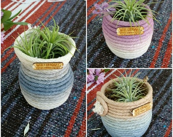 Ombre Dyed Cotton Rope Coil Pot / Stash Bowl