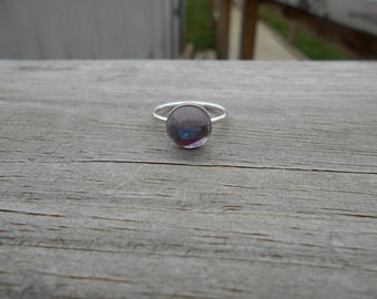 Pink Amethyst Stacking Ring, Sterling Silver, Size 7.5