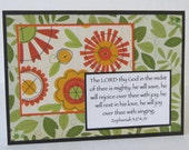 The Lord Is Mighty Christian All Occasion Card With Flowers Leaves And Scripture