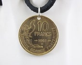 Rooster Coin Necklace, French 10 Francs, Coin Pendant, Leather Cord, Men's Necklace, Women's Necklace, 1951