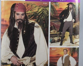 Simplicity 0627, Simplicity 4923, Costume Sewing Pattern, Pirate Costume Pattern, Men's Pattern, Sizes XS, S, M, Uncut