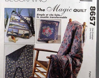 McCall's 8657, The Magic Quilt Pattern, Home Decorating, Quick and Easy, Sewing Pattern, Uncut