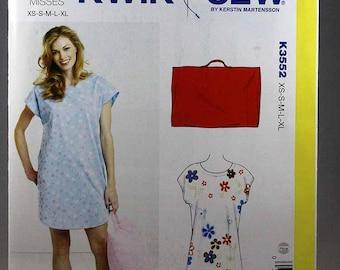 Kwik Sew 3552, Misses' Sleep Shirt and Pillowcase Sewing Pattern, Sewing Pattern, Sleepwear Pattern, Sizes XS, S, M, L, Xl, New and Uncut