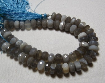 8 inches strand Gorgeous Grey Colour  - CHALCEDONY -Micro faceted Rondell Beads Sparkle Huge Size - 7 - 8  mm