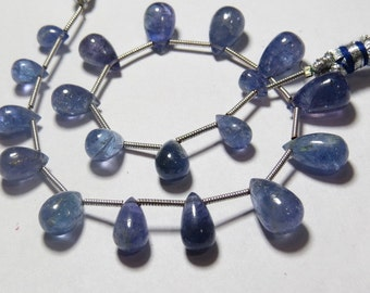 TANZANITE - 8 inches So Gorgeous - AAA - High Quality Natural Blue Color - Smooth Polished Tear Drops Briolletes - 7 - 12.5 mm approx