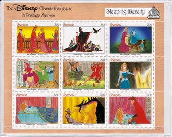 Vintage Sleeping Beauty Collectible Postage Stamps